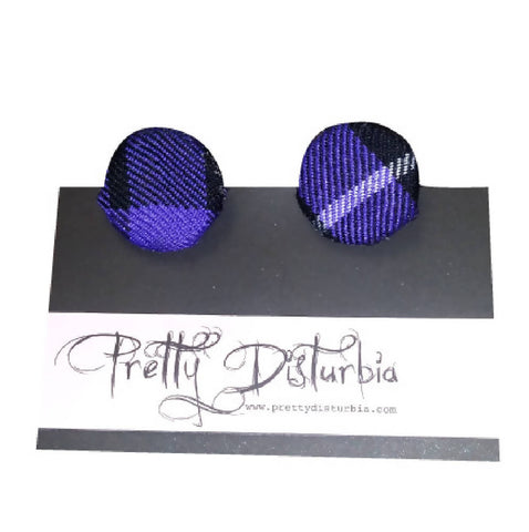 MOTHERS DAY GIFT Handmade Purple Tartan Clip On Stud Earrings | PRETTY DISTURBIA