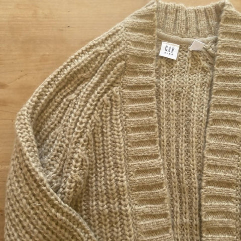 GAP girls' beige chunky knit open cardigan, size L