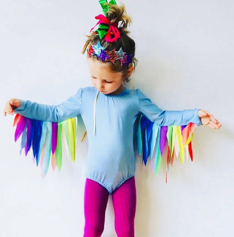 FLINGO WINGS -Sky Blue leotard with Rainbow wings