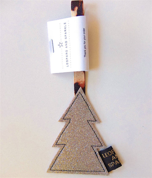 Handmade Sparkly Christmas Tree Decoration with animal print ribbon. *Free UK Delivery.