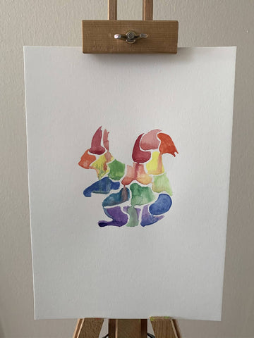 'Rainbow' Squirrel Watercolour Painting