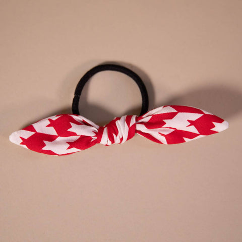 Red and White Dogtooth Check Hair Bow on Hair Elastic