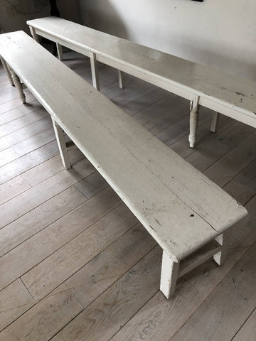 Vintage white painted tack-room bench
