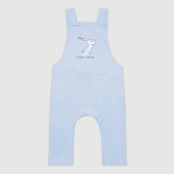 Hare Print Blue Dungarees