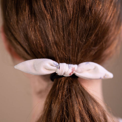 White Ditsy Floral Hair Bow on Hair Elastic