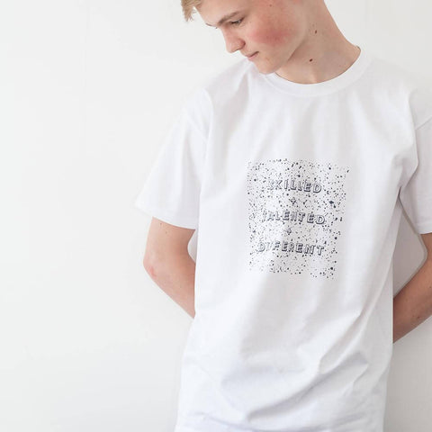 Unisex splatter caption t-shirt