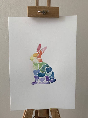'Rainbow' Bunny Watercolour Painting
