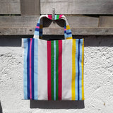'Almost Square' Shopper - Vertical Beach Stripes