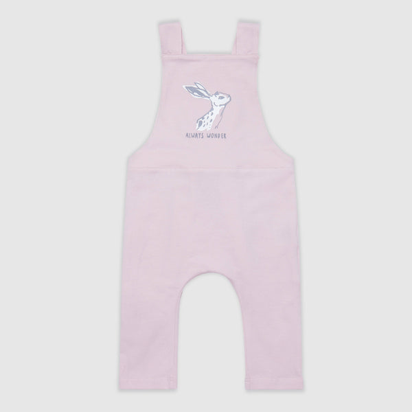 Hare Print Pink Dungarees