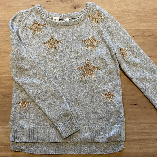 GAP girls' grey jumper with gold stars, M