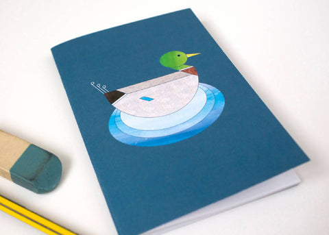 Mr Mallard Duck A6 notebook printed on recycled paper