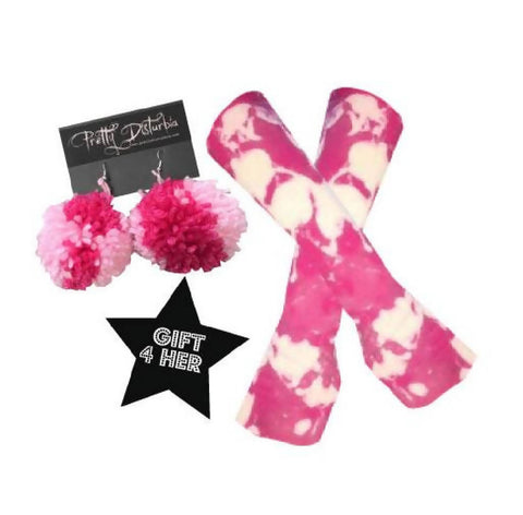 GIFT SET Pink Acid Wash Armlets & Pom Pom Earrings | PRETTY DISTURBIA