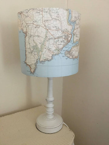 Medium 30cm Handmade Bespoke Persoanlised Map 'Special Place' Light Shade Small 20cm