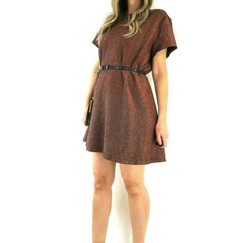 Simply Be Lurex Skater Dress Bronze 22