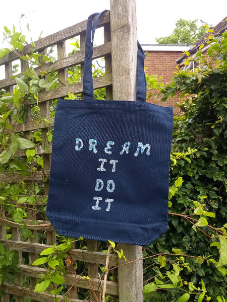 Upcycled logo tote bag Dream it Do it