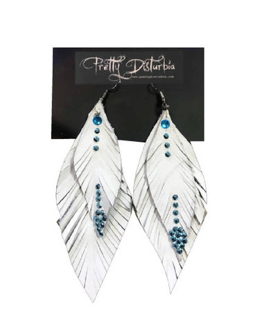 Handmade White Leather Feather Earrings | PRETTY DISTURBIA