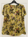 Oasis mustard yellow floral blouse, size 14