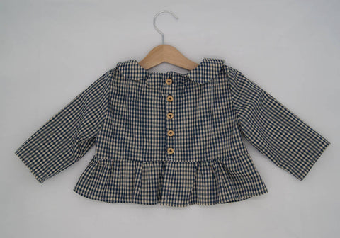 Gingham Peter Pan Collar Blouse