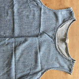 Gap chambray sleeveless raw edge top, M