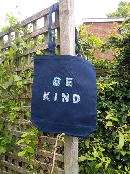 Upcycled logo tote bag Be Kind