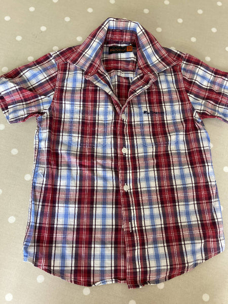 Ben Sherman short sleeved checked cotton shirt 5-6