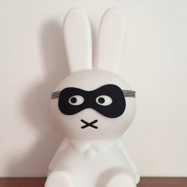 Black felt bandit style dress up mask on a Miffy bunny