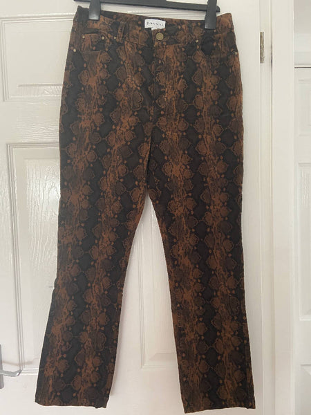 Warehouse snakeskin cords, black/tan, size 12