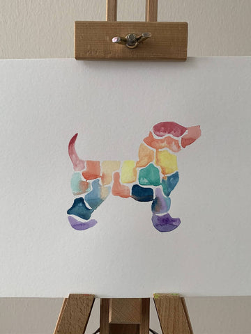 'Rainbow' Dog Watercolour Painting
