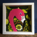 Flamingo felt artwork