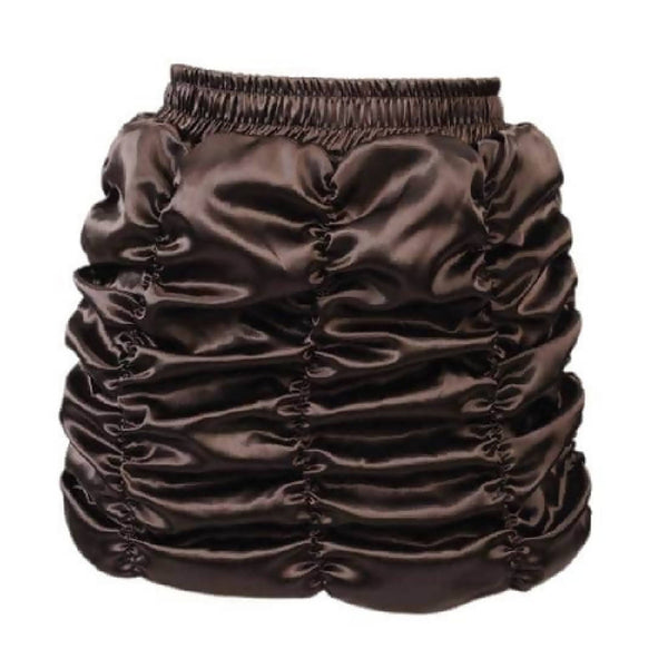 Brown Satin Gather Mini Skirt | PRETTY DISTURBIA