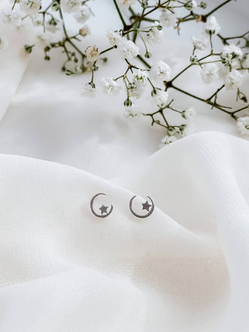 Cosmic Crescent Moon and Star 925 Sterling Silver Stud Earrings /gift/friend/girlfriend/mother/love/Christmas
