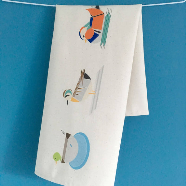 Dabbling Ducks tea towel made with 100% organic cotton