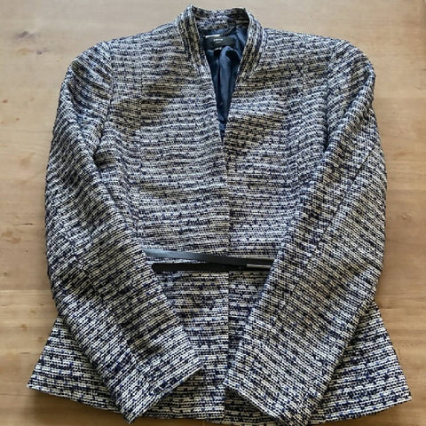 Mango navy tweed jacket with belt. L