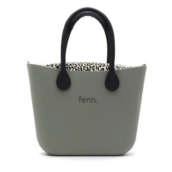 Olive Green Fenn bag with leopard print inner and black handles