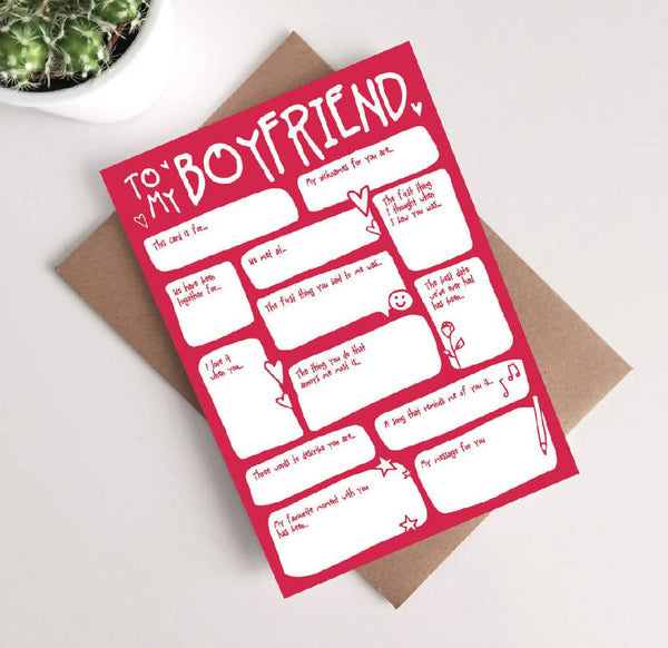 Boyfriend Valentines Card - Fill In The Blanks