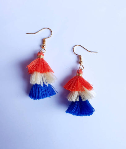 Orange and Blue Tassel Drops