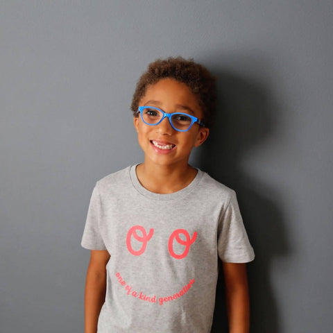 Kids Neon Eyes Short Sleeve T-shirt - Grey