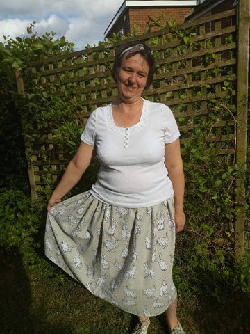 Elastic waist upcycled midi length skirt