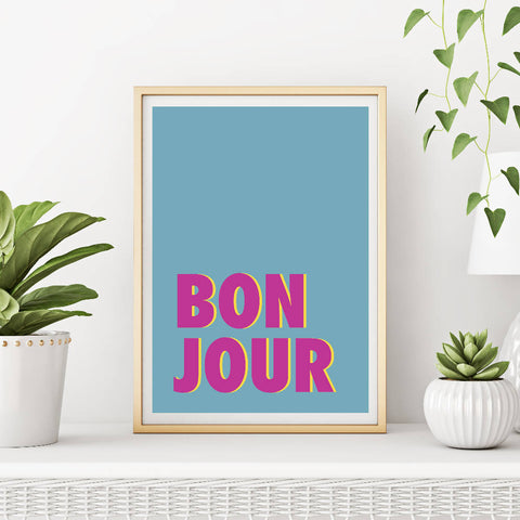 Bonjour (teal/magenta) | Home Decor - Wall Art - Typography