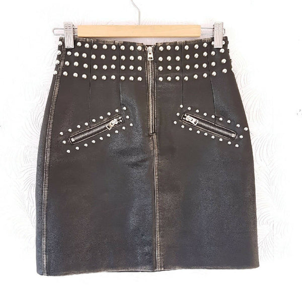 Topshop Faux Leather Studded Black Skirt 8