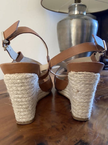 Dune tan leather wedge sandals, size 6