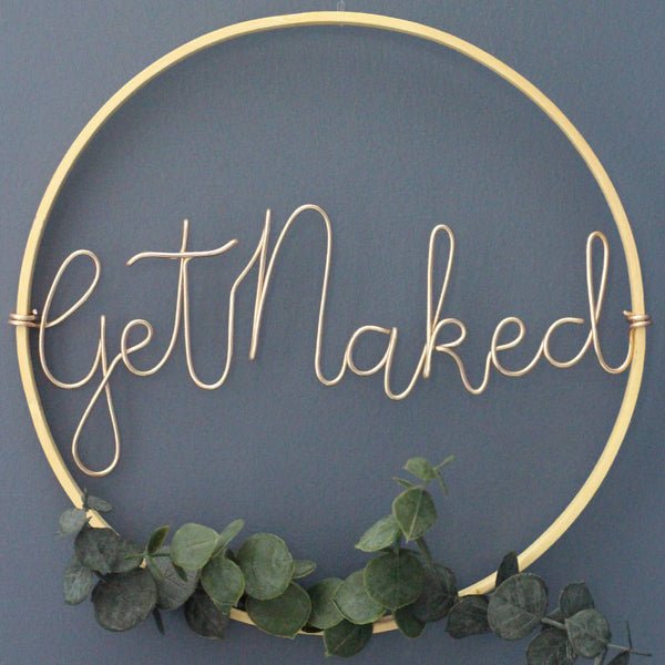 Bamboo Hoop with faux eucalyptus. Get Naked.