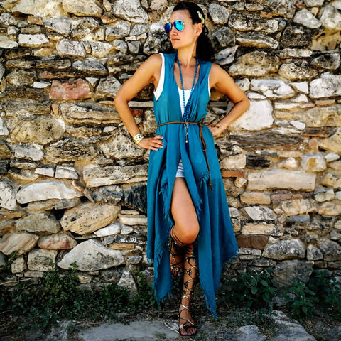 Marine Blue Wrap Dress