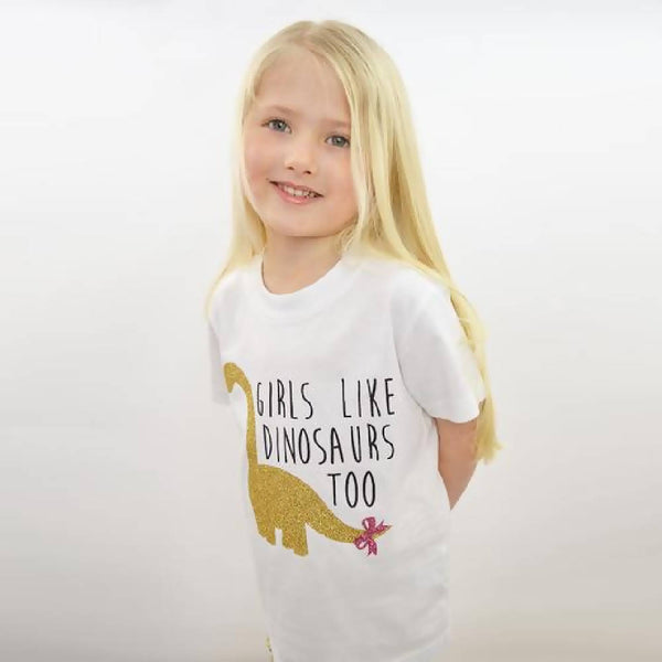 'Girls Like Dinosaurs Too' Kids T Shirt