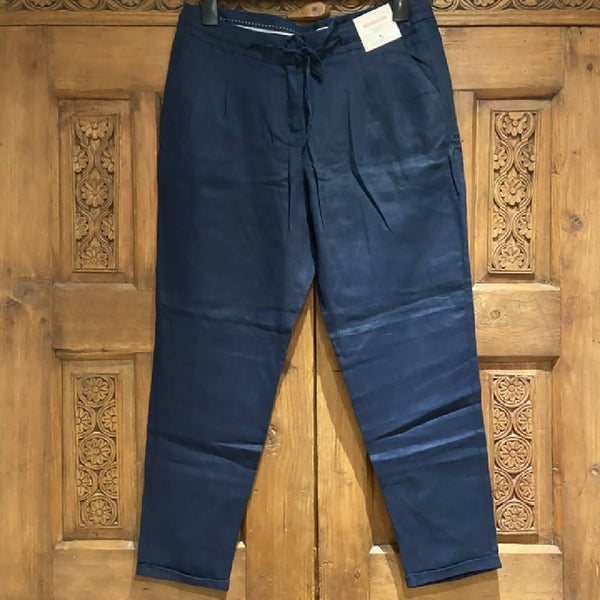 Monsoon BNWT navy linen tapered trousers, size 14