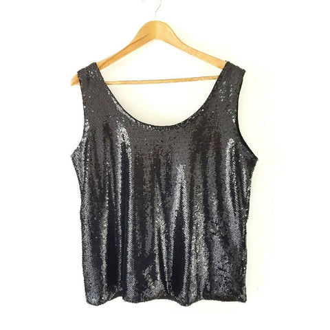 NEW M&S Sequin Black Vest Top 16