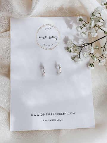 Bamboo Semi Hoop Earrings. 925 Sterling Silver