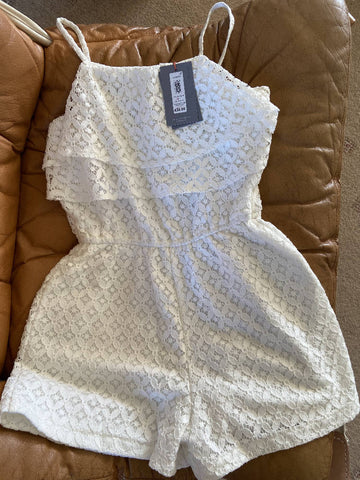 John Lewis BNWT girls' cream lace playsuit, age 10