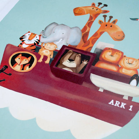 All Aboard A3 Animal Print Nursery Art Lion Bear Tiger Boat Animals Watercolor Girls boys Noahs Ark Wall Art Gift Zoo Decor