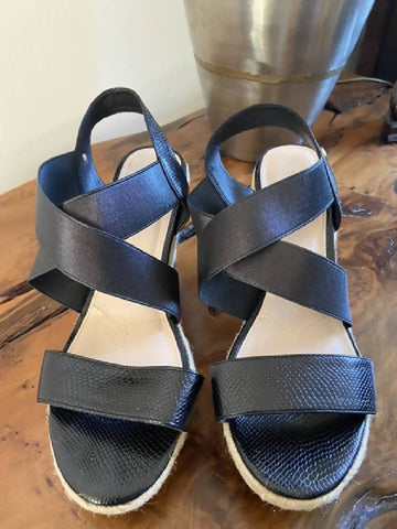 Miss KG Black wedge sandals, size 6